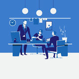 Work scheduling concept vector illustration in flat design. Vector illustration of business meeting at workplace. Office interior. Work scheduling, planning Stock Photography