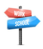 Work school street sign illustration design Royalty Free Stock Photo