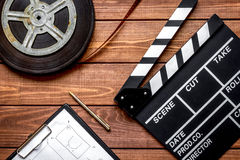 Work screenwriter on wooden background top view Royalty Free Stock Image