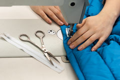 Work at the sewing machine Stock Photography