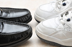 Work Shoes and Play Shoes Royalty Free Stock Images