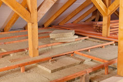 Work site of installing thermal insulation. Under the roof - mineral wool p-anels and wooden planks Stock Image
