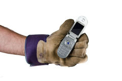 Work site phone. Construction worker holding a phone on white background Stock Photos