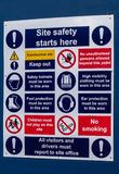 Work site safety reminder board royalty free stock photo