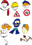 Work. Six characters and accessories that depict jobs and professions Stock Photo
