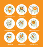 Work skills icon set. Line icons set representing abstract symbols of personal skills essential for successful education and career. Personal characteristics stock illustration