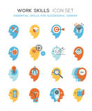 Work skills icon set. Line icons set representing abstract symbols of personal skills essential for successful education and career. Personal characteristics Stock Image