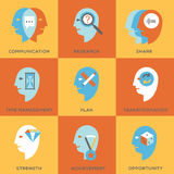 Work skills icon set. Icon set representing abstract symbols of personal skills essential for successful education and career. Personal characteristics vector illustration