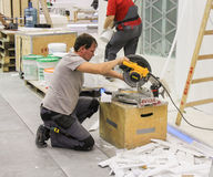 Work slicing stuff. Stock Image