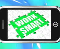Work Smart Tablet Shows Worker Enhancing Stock Photos