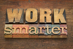 Work smarter advice in wood type Stock Images