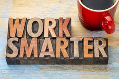 Work smarter advice in wood type Stock Photography