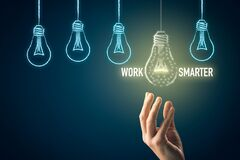 Free Work Smarter Concept With Light Bulb Royalty Free Stock Photos - 215813398