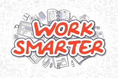 Work Smarter - Doodle Red Word. Business Concept. Business Illustration of Work Smarter. Doodle Red Text Hand Drawn Cartoon Design Elements. Work Smarter Royalty Free Stock Photos