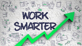 Work Smarter Drawn on Brick Wall. Work Smarter - Increase Concept with Doodle Icons Around on the White Brickwall Background. Work Smarter - Modern Line Style Royalty Free Stock Image