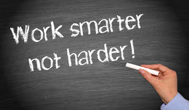 Work smarter not harder - female hand writing text. On blackboard stock photos