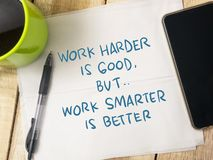 Work Smarter not Harder, Motivational Words Quotes Concept. Work Smarter not Harder, business motivational inspirational quotes, words typography top view stock images