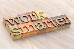 Work smarter word abstract in wood type Stock Image