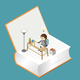 Work Space on the book stock illustration