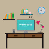 Work space computer and tools for hard working  Stock Image