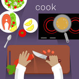 Work Space Cook Design Flat Concept Stock Images