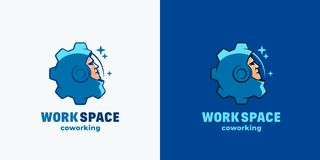 Work Space Coworking. Abstract Vector Sign, Emblem, Icon or Logo Template. Space Suit Helmet Face Combined with Gear Royalty Free Stock Images