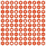 100 work space icons hexagon orange. 100 work space icons set in orange hexagon isolated vector illustration Stock Photo