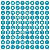100 work space icons sapphirine violet. 100 work space icons set in sapphirine hexagon isolated vector illustration Stock Images