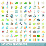 100 work space icons set, cartoon style Stock Image