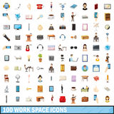 100 work space icons set, cartoon style Royalty Free Stock Images