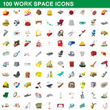 100 work space icons set, cartoon style. 100 work space icons set in cartoon style for any design vector illustration Royalty Free Stock Image
