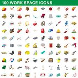 100 work space icons set, cartoon style. 100 work space icons set in cartoon style for any design illustration royalty free illustration