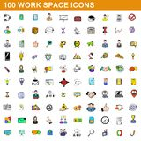100 work space icons set, cartoon style. 100 work space icons set in cartoon style for any design illustration vector illustration