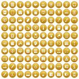100 work space icons set gold. 100 work space icons set in gold circle isolated on white vector illustration Stock Illustration