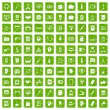 100 work space icons set grunge green. 100 work space icons set in grunge style green color isolated on white background vector illustration Stock Photos