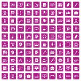 100 work space icons set grunge pink. 100 work space icons set in grunge style pink color isolated on white background vector illustration Stock Photo