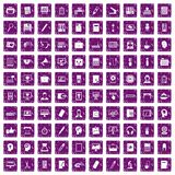 100 work space icons set grunge purple. 100 work space icons set in grunge style purple color isolated on white background vector illustration Stock Illustration