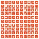 100 work space icons set grunge orange. 100 work space icons set in grunge style orange color isolated on white background vector illustration Royalty Free Stock Images