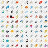 100 work space icons set, isometric 3d style Stock Image
