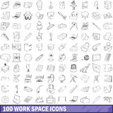 100 work space icons set, outline style. 100 work space icons set in outline style for any design vector illustration Royalty Free Stock Image
