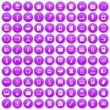 100 work space icons set purple. 100 work space icons set in purple circle isolated on white vector illustration Stock Illustration