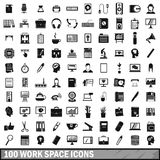 100 work space icons set, simple style Royalty Free Stock Photos