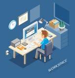 Work Space Isometric Flat Style. Royalty Free Stock Image