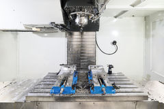 Work space of modern CNC milling machine. Modern equipment for metal cutting Royalty Free Stock Images