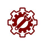Spanner, repair, wrench, industry, screwdriver, gear, settings, equipment, service, maintenance, work tool maroon color icon. Work spanner repair hammer wrench stock illustration
