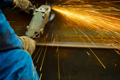Work when the spark grinding machine Stock Image