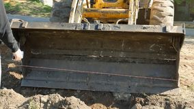 The work of special equipment in the repair of roads stock video