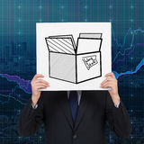 Work staff. Businessman holding poster with drawing box - work staff Royalty Free Stock Image