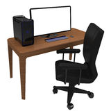 Work station, office desk. Office desk with chair desktop computer and large monitor, workstation Royalty Free Stock Image