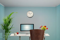 Work station. View of a Female work station in the office royalty free illustration